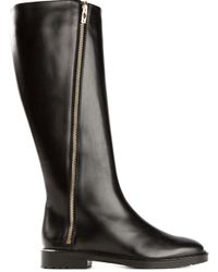 Moreschi Black Bias Zip Closure Boots
