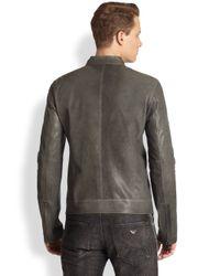 Emporio Armani | Gray Asymmetrical Leather Jacket for Men | Lyst