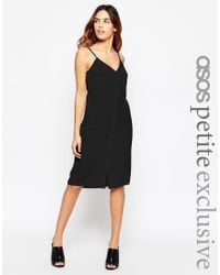 ASOS | Black Petite Cami Midi Dress With Button Front | Lyst