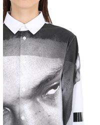 Hood By Air Black Face Printed Cotton Poplin Shirt for men