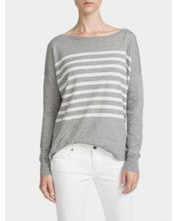 White + Warren | Metallic Essential Cotton Striped Bateauneck | Lyst