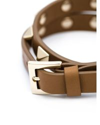 Valentino Brown 'rockstud' Double Bracelet Or Choker