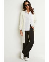 Forever 21 - Natural Ribbed Knit Longline Cardigan - Lyst