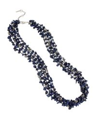 Kenneth Cole | Blue Semi Precious Turquoise Chip Multi Strand Necklace | Lyst
