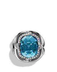 David Yurman Metallic Labyrinth Ring With Blue Topaz And Diamonds