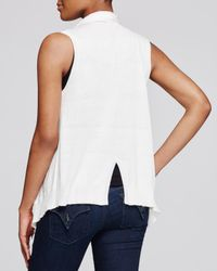 Aqua - White Vest With Fringe Hem - Lyst