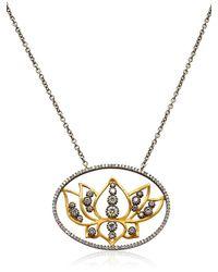 Sara Weinstock Metallic French Lace Lotus Necklace