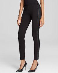 Eileen Fisher Black Leather Tuxedo Stripe Skinny Pants - Bloomingdale'S Exclusive