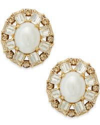 Kate Spade | Metallic Gold-tone Imitation Pearl Crystal Stud Earrings | Lyst