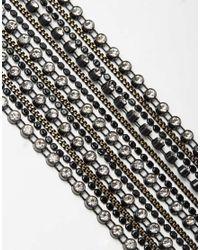 ASOS Metallic Statement Chain Fringe Torque Necklace - Black