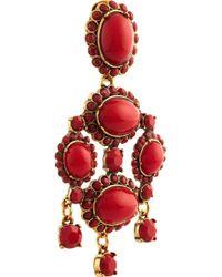 Oscar de la Renta Red Gold-Tone Cabochon Earrings