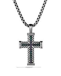 "David Yurman | Metallic Chevron Cross With Color Change Garnet On Chain, 22"" for Men 
