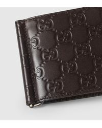 Gucci | Brown Leather Gg Money Clip Wallet for Men | Lyst