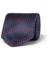 Penrose London Blue Patterned Silk Tie for men
