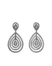 David Yurman | Metallic Cable Classics Drop Earrings With Diamonds | Lyst