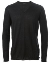 Roberto Collina | Black V Neck Sweater for Men | Lyst