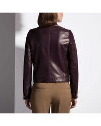 Bally Brown Leather Biker Jacket Women ́s Nappa Leather Jacket In Aubergine