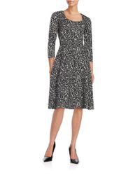Ivanka Trump | Metallic Patterned Knit Fit-and-flare Dress | Lyst
