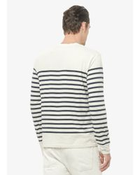Vince Natural Engineered Breton Stripe Jersey Crew Neck Tee