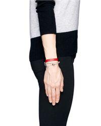 Alexander McQueen | Red Skull Chain Double Wrap Leather Bracelet | Lyst