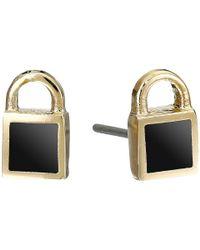 Marc By Marc Jacobs - Black Lock-In Mini Enamel Padlock Studs Earrings - Lyst