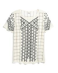 Madewell White Silk Embroidered Tee
