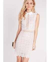 Missguided - Lace Collared Bodycon Dress White - Lyst