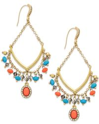 INC International Concepts | Multicolor Gold-tone Coral And Turquoise Bead Gypsy Drop Earrings | Lyst
