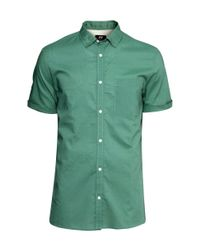 H&M Green Short-sleeved Cotton Shirt for men