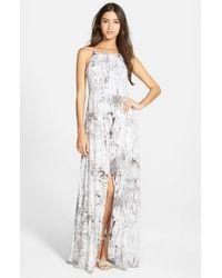 Betro Simone - Gray Print Slit Front Maxi Dress - Lyst