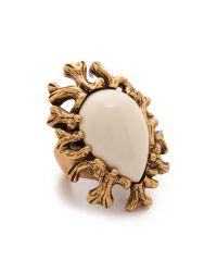 Oscar de la Renta - Metallic Coral Branch Ring - Ivory - Lyst