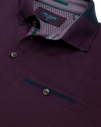 Ted Baker | Purple Eyebis Colour Block Collar Polo Shirt for Men | Lyst