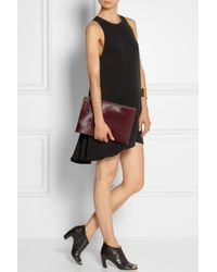T By Alexander Wang Black Leather-Trimmed Double-Layered Crepe Mini Dress