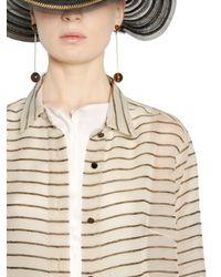 Giorgio Armani Natural Embroidered Viscose & Silk Organza Shirt
