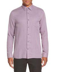 Vince Purple 'melrose' Trim Fit Straight Hem Sport Shirt for men