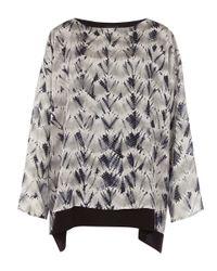 Eskandar | Gray Grey Shibori Dyed Double Layer Scoop Neck Top | Lyst