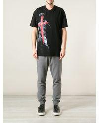 McQ Black Graffiti Sculpture Tshirt for men