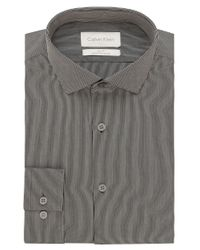 Calvin Klein Gray Slim Fit Micro Stripe Dress Shirt for men