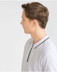 Zara | White Polo Shirt With Zip for Men | Lyst