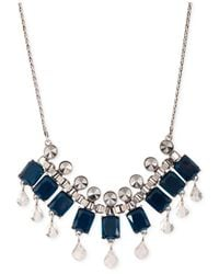 Lucky Brand - Blue Rock Crystal And Beaded Statement Necklace - Lyst