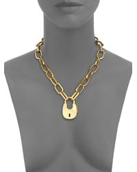 Michael Kors | Metallic Cityscape Hardware Padlock Chain Necklace/Goldtone | Lyst