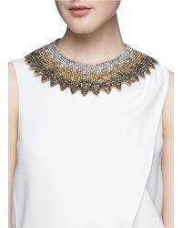 Valentino Multicolor Grosgrain Tie Spike Strass Collar Necklace