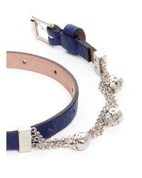 Alexander McQueen - Blue Skull Chain Double Wrap Leather Bracelet - Lyst