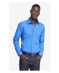 Express Blue Extra Slim 1Mx Stretch Cotton Shirt for men