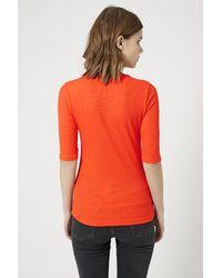 TOPSHOP - Orange Ribbed Funnel Neck Top - Lyst