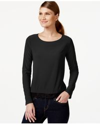 Cece by Cynthia Steffe | Black Scoop-neck Lace-hem Top | Lyst
