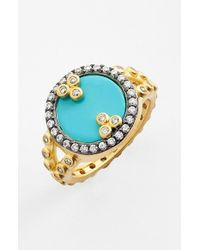 Freida Rothman | Blue 'metropolitan' Stone Ring - Turquoise/ Gold/ Clear | Lyst