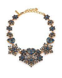 Oscar de la Renta Blue Crystal Hearts & Stars Bib Necklace
