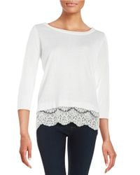Ivanka Trump | White Lace-trimmed Knit Sweater | Lyst