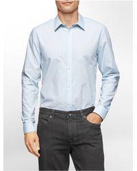 Calvin Klein - Blue White Label Classic Fit Grid Stripe Non-iron Cotton Shirt for Men - Lyst
